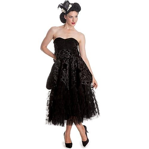 Hell Bunny Lavintage Velvet Flock Party Victorian Dress