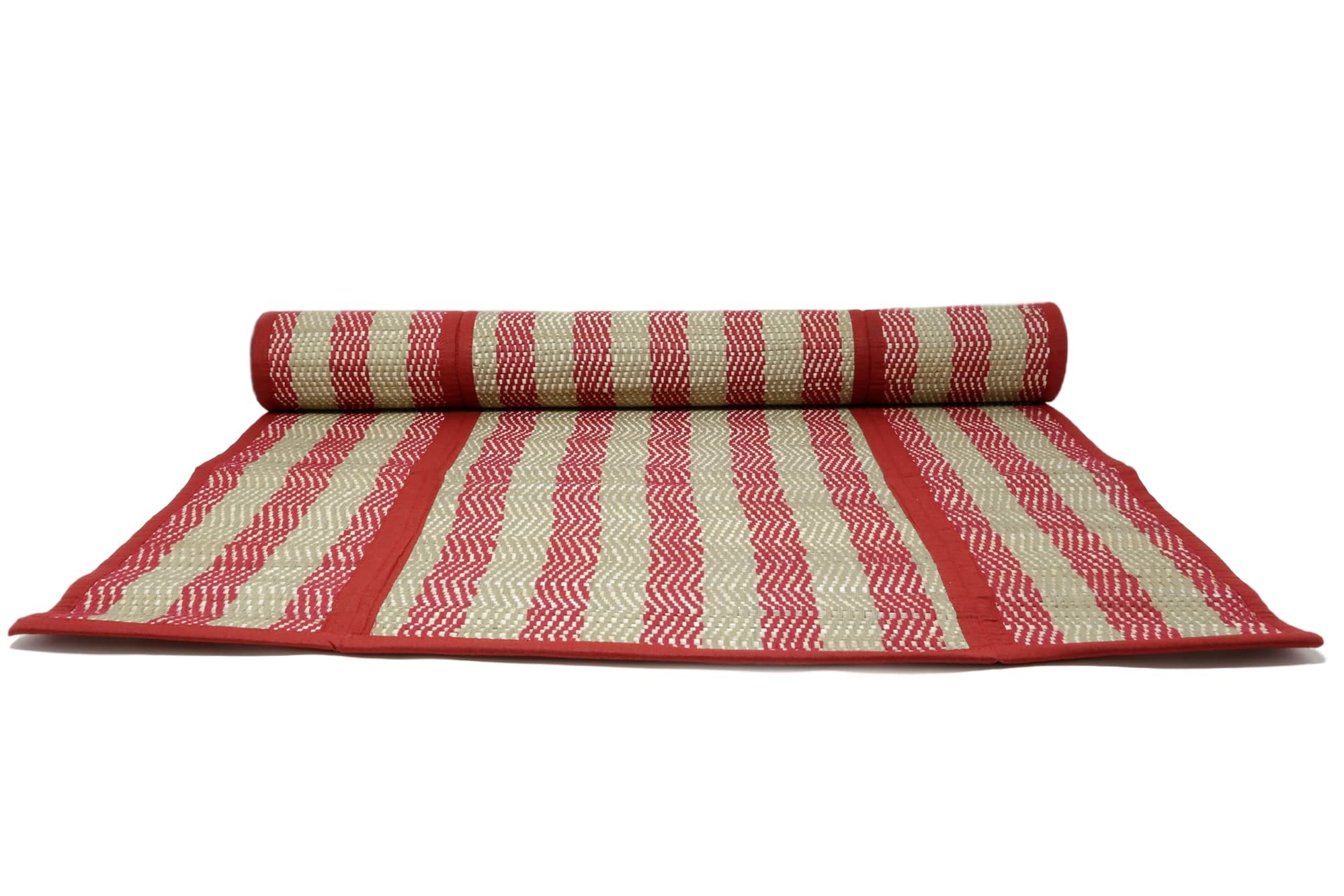 ShalinIndia Handloom Woven Eco Friendly Crimson Beige Banana Fiber Chevrom Multipurpose Travel Mat For Beach Meditation Yoga Exercise Picnic Home Outdoors 26 X72 Inch Folded -With A Cotton Bag