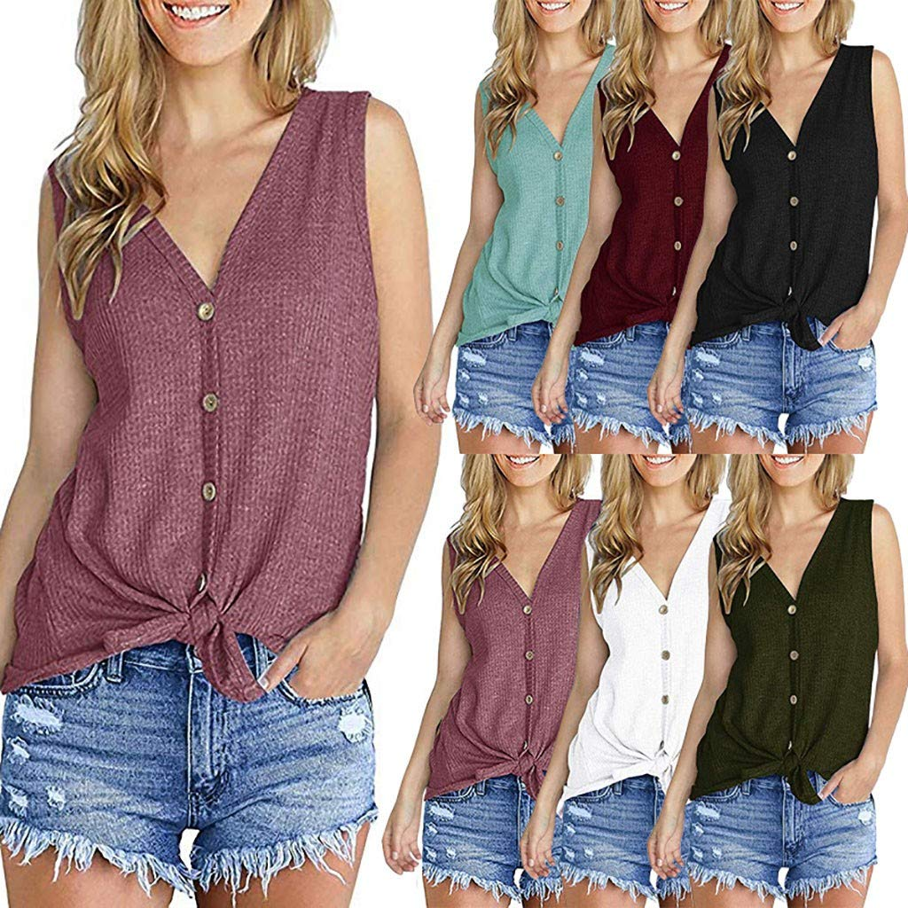 Womens Waffle Knit Tunic Blouse Tie Knot Henley Tops Loose Fitting Bat Wing Plain Shirts (Wine, XXL) by Tanlo (Image #1)
