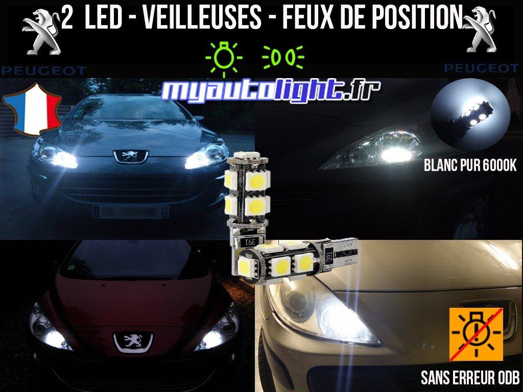 Peugeot 207 SW W5W blanc X/énon Ampoules Feux de position LED