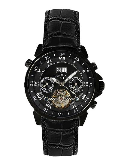 André Belfort 410137 - Reloj analógico de caballero automático con correa de piel negra - sumergible a 50 metros: Amazon.es: Relojes