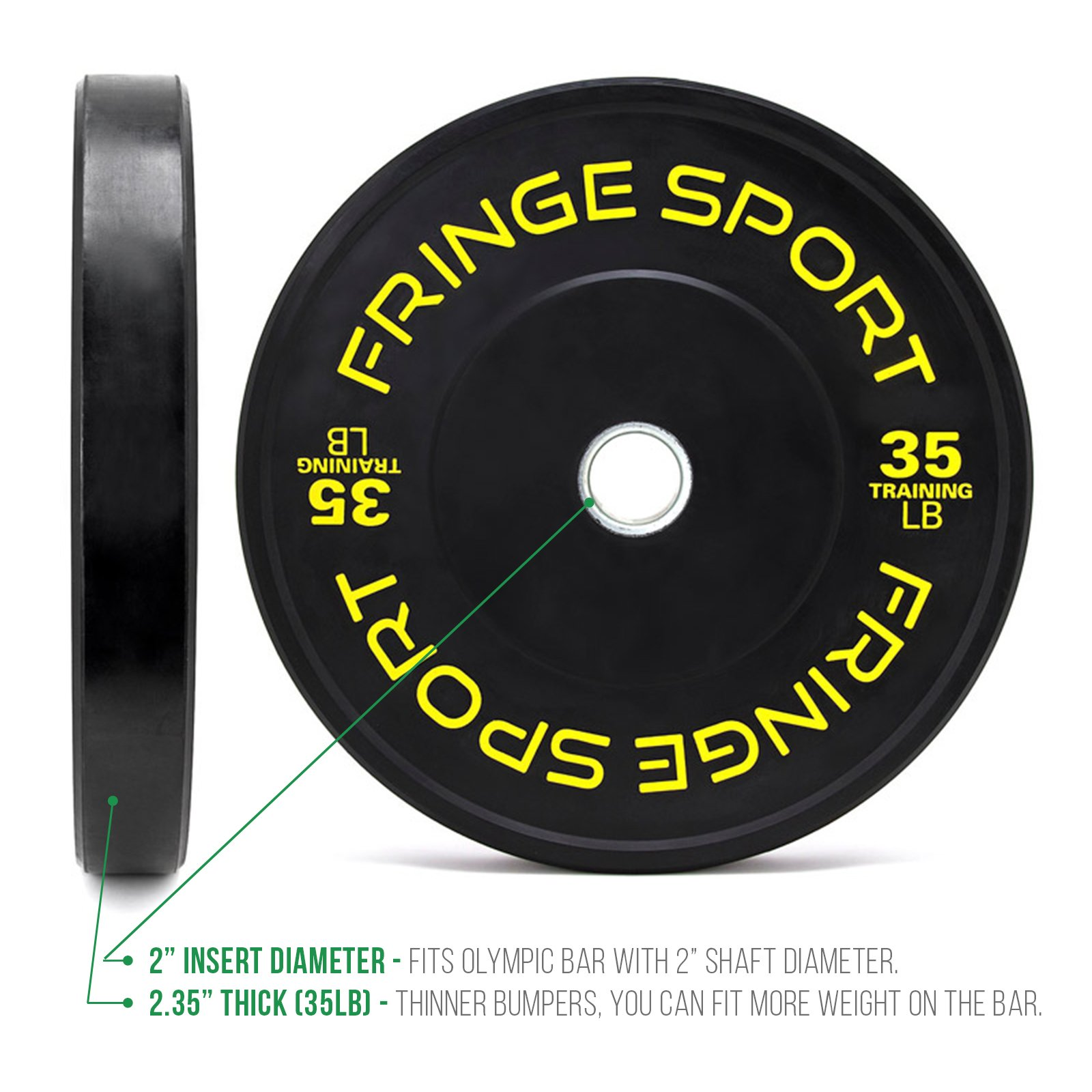 OneFitWonder Contrast Lettering Olympic Bumper Plate Pairs 10lb - 55lb Virgin Rubber for Weightlifting (35)