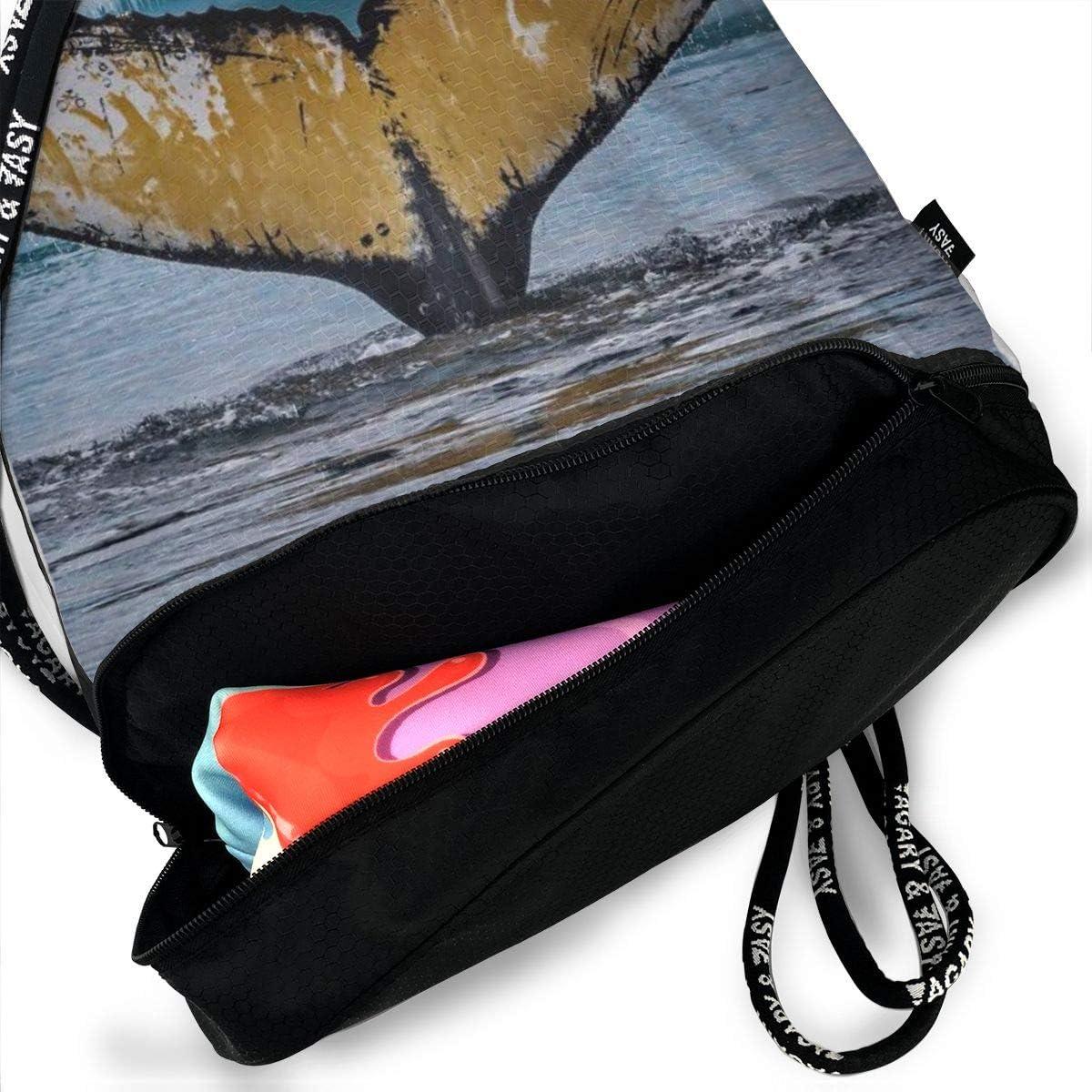 GymSack Drawstring Bag Sackpack Diving Moment Whale Sport Cinch Pack Simple Bundle Pocke Backpack For Men Women