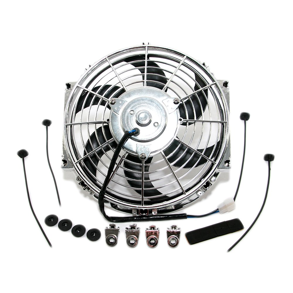 Assault Racing Products 4501010 10'' Chrome S-Blade Electric Radiator Cooling Fan Universal w/ Mounting Kit