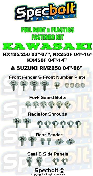 2004-2011 Specbolt Fasteners Full Body /& Plastics Kawasaki /& Suzuki Bolt Kit: KX 125//250 KX 250F 2003-2007 2004-2014 2004-2006 #17 RMZ 250 KX 450F