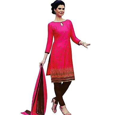 Ladyline Readymade Salwar Kameez Cotton Embroidered Indian Pakistani Suit