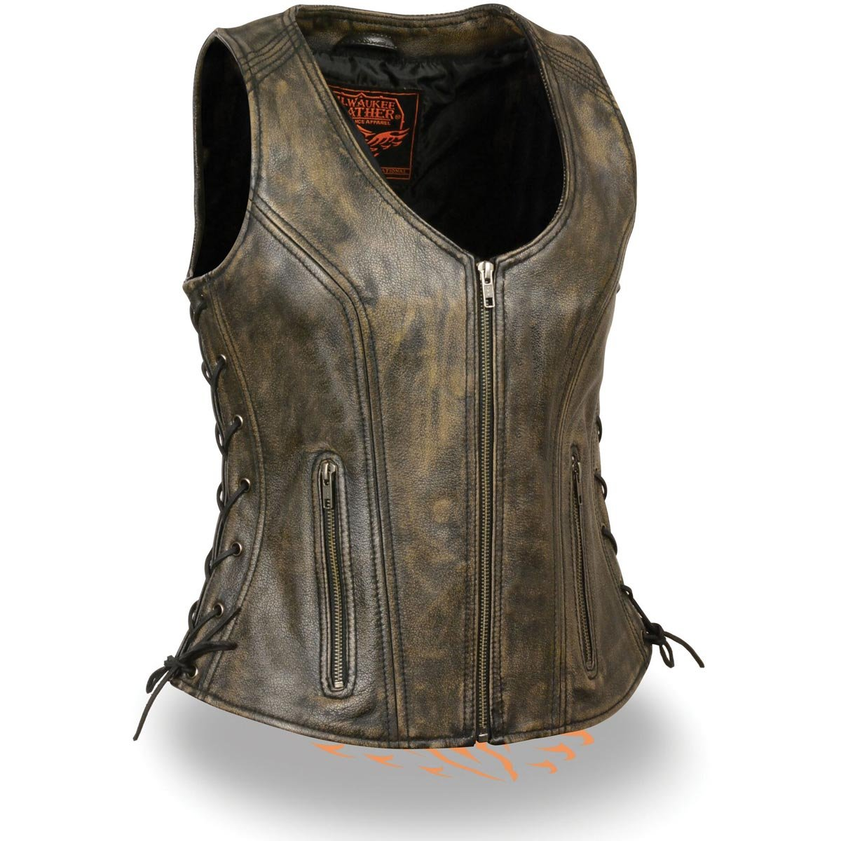 Milwaukee Leather Womens Open Neck Side Lace Front Zipper Brown Leather Vest wi - Small