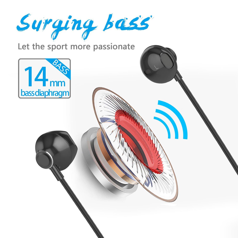 Ecouteur Bluetooth V4.1, Oreillette sans Fil Stéréo avec Microphone Casque Magnétique Anti Transpiration pour Running Jogging Yoga (Noir-W2)