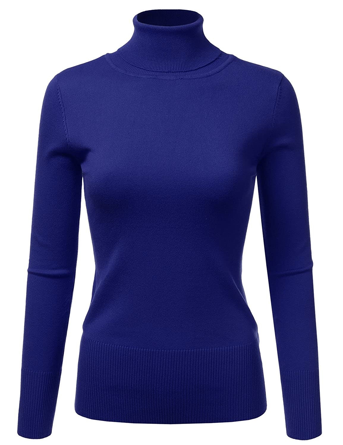 Doublju Basic Long Sleeve Ribbed Knit Turtleneck Sweater For Women