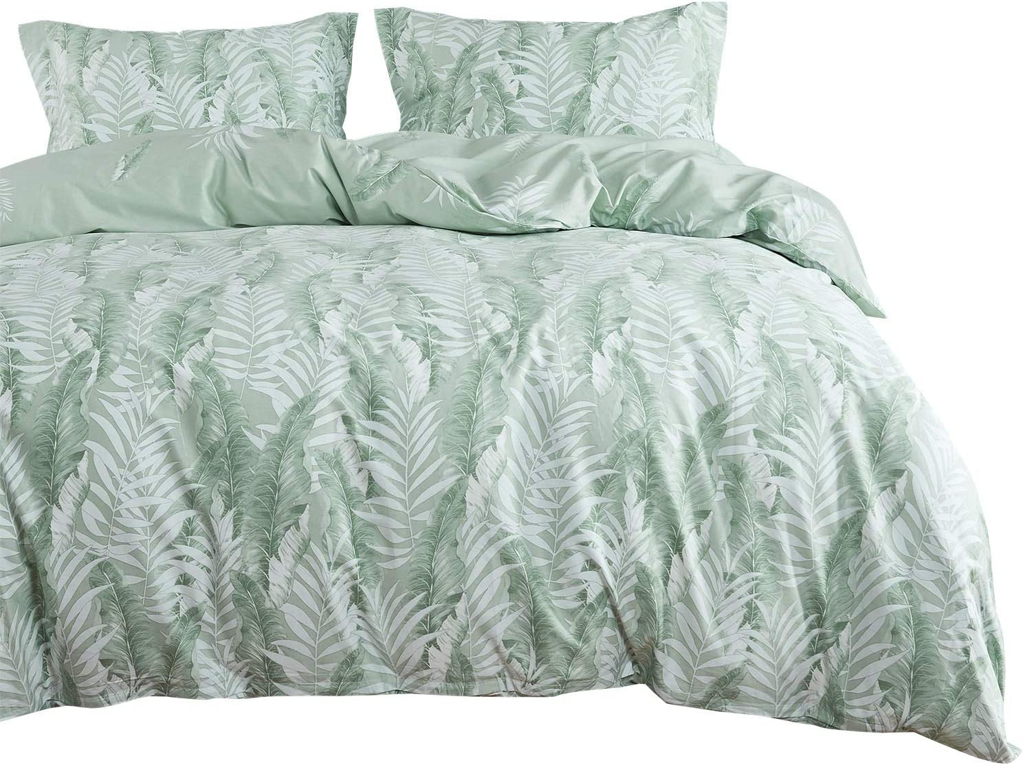 Wake In Cloud - Leaves Comforter Set, 100% Cotton Fabric with Soft Microfiber Fill Bedding, Tropical Palm Banana Tree Pattern Printed in Green White (3pcs, King Size)