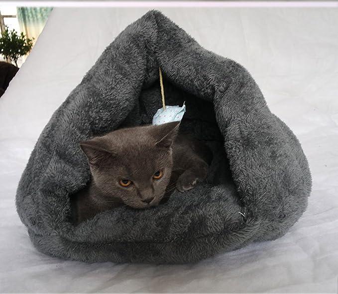 wkm Saco de Dormir para Gatos Suave autocalentamiento Lavable Convertir a Saco Cama para Gatos Saco de Gatitos Adecuado para Gatos y Cachorros Gris Oscuro ...