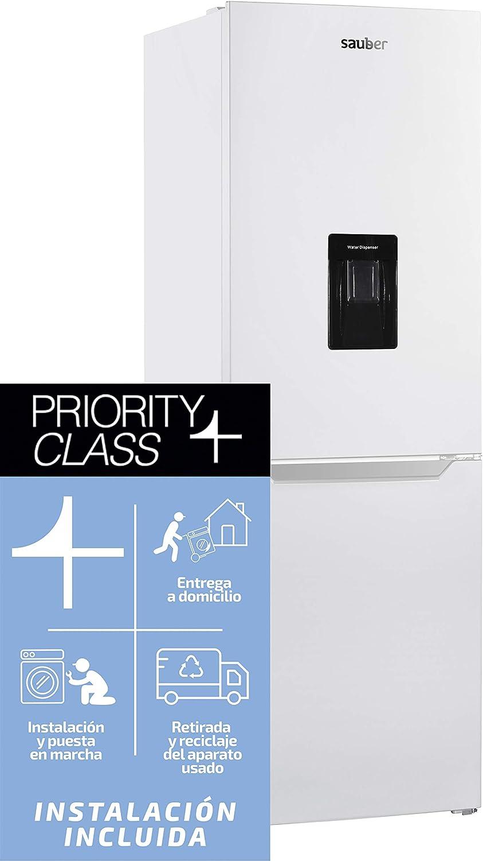 Sauber - Frigorífico Combi con DISPENSADOR SERIE 3-185BDW - No Frost (Congelador) - Eficiencia energética: A+ - 185x60cm - ENTREGA EN DOMICILIO