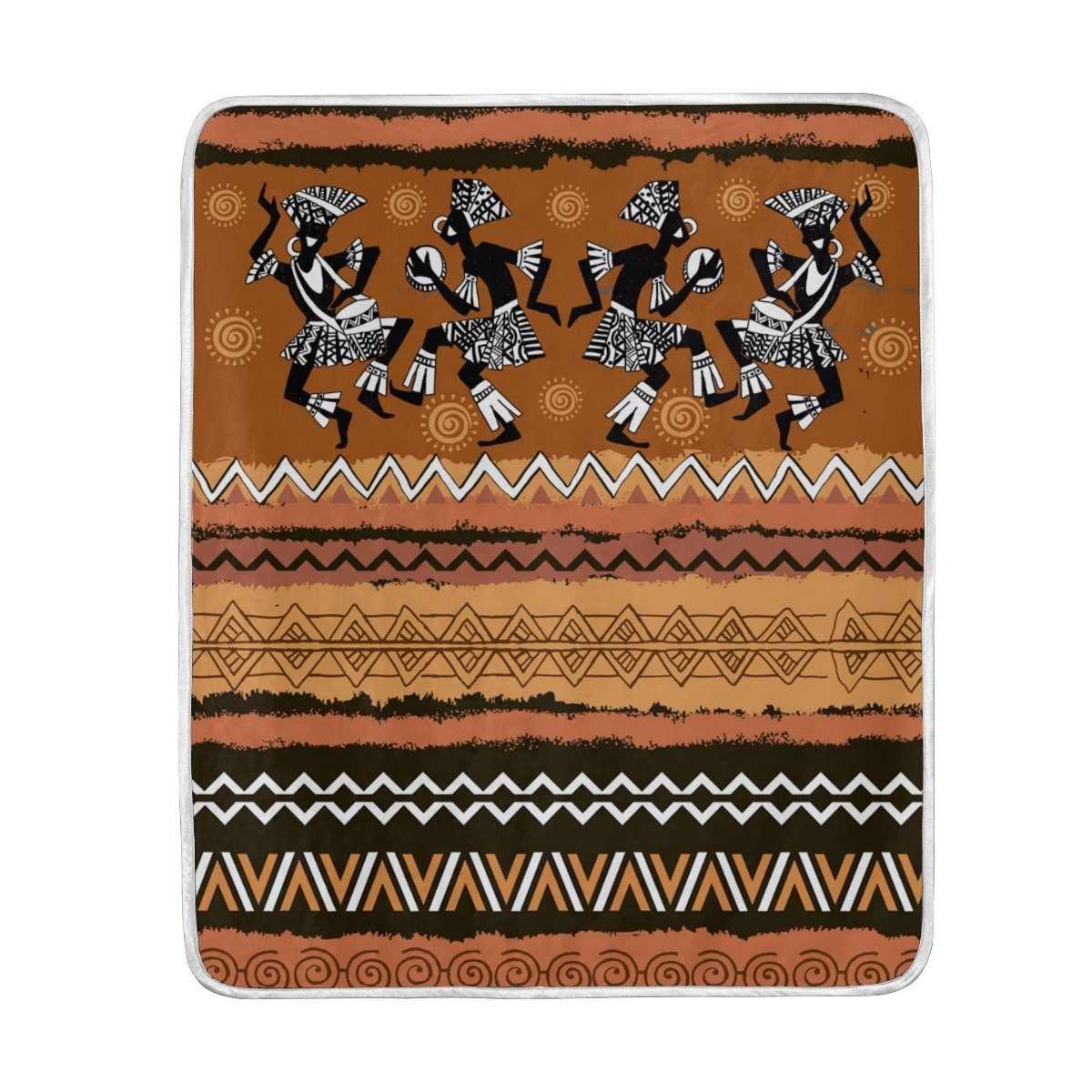 My Little Nest Ethnic Ornament Dancing Africans Soft Throw Blanket Lightweight MicrofiberCozy Warm Blankets Everyday Use for Bed Couch Sofa 50'' x 60''