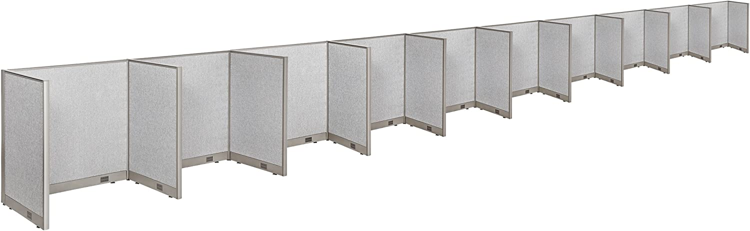 """GOF Cubicle Single 10 Station Office Partition, Large Fabric Room Divider Panel Workstation, 30""""D x 48""""W x 48""""H"""