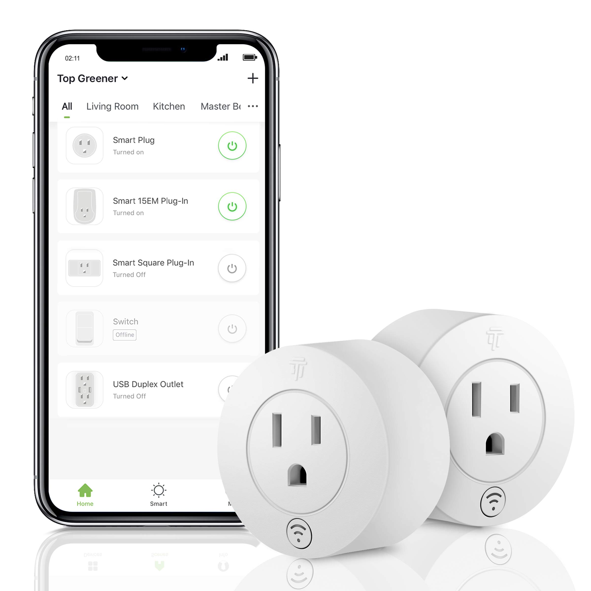 TOPGREENER Smart Mini Wi-Fi Plug with Energy Monitoring, Smart Outlet, Control Lights and Appliances from Anywhere, No Hub Required, Works with Alexa and Google Assistant, TGWF115PRM, 2-Pack