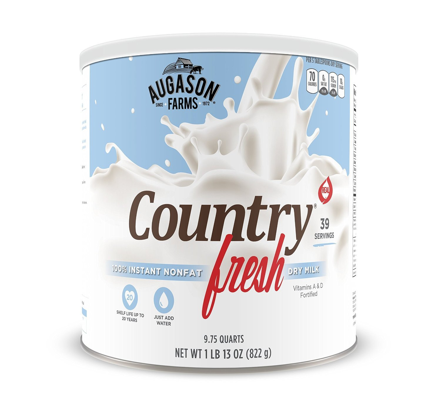 Augason Farms, Country Fresh 100% Real Instant Nonfat Dry Milk, 1lb 13oz (Pack of 6) by  (Image #1)