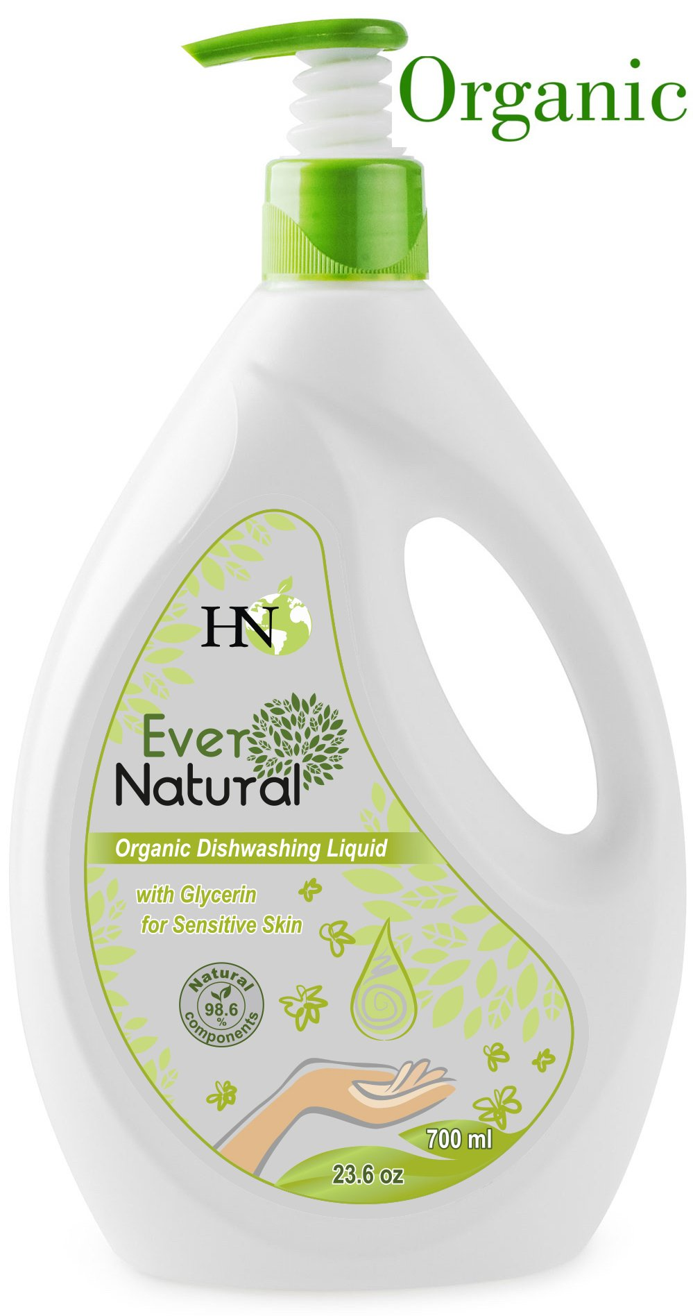 Organic Dishwashing Liquid With Glycerin For Sensitive Skin, Contains Safe Herbal Ingredients, Cares For Your Hands And Nails, Effective Even In Hard Water 23.06 oz