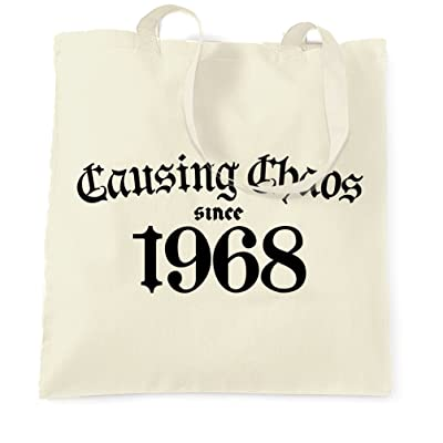 50th Birthday Tote Bag Causing Chaos Since 1968 Happy Fifty Years Old