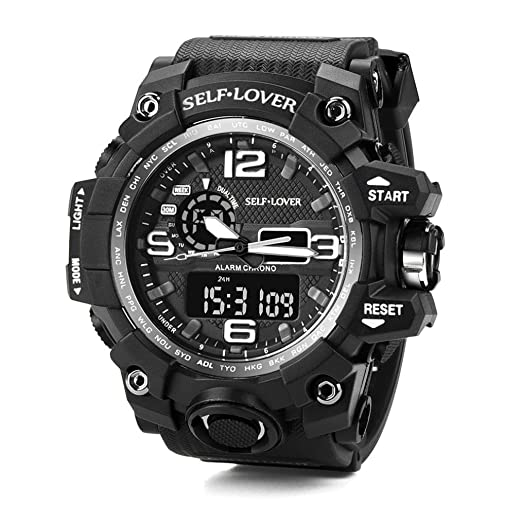Reloj deportivo para hombre Reloj analógico digital LED con pantalla doble y relojes electrónicos (A