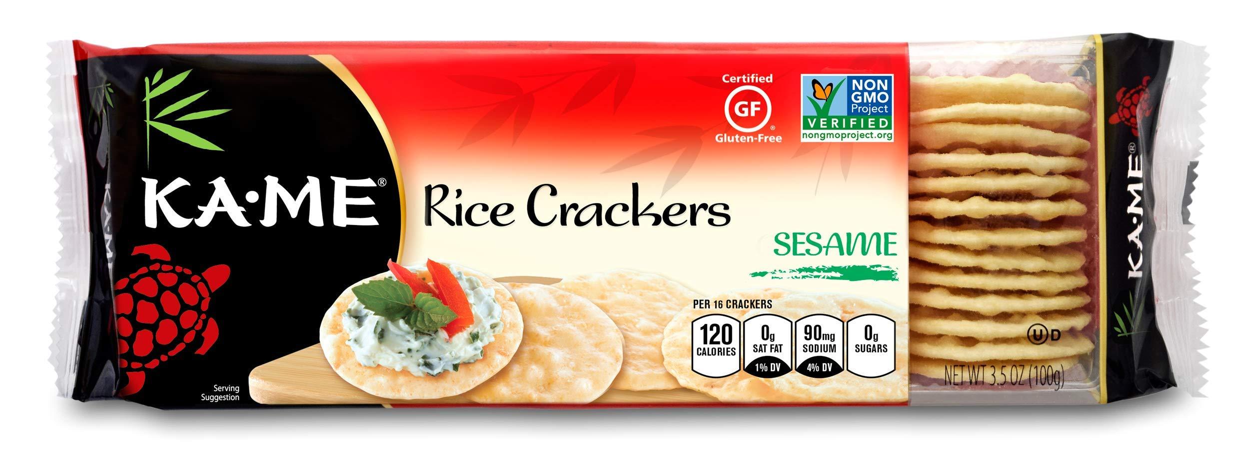 Ka-Me Gluten Free Rice Crackers, Sesame, 3.5 Ounce