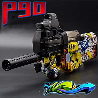 ZhenDuo P90 Gel Ball Blaster Water Beads Toy Gun Set, Graffiti Design with Larger Container for Shooting Games Outdoor Action Game