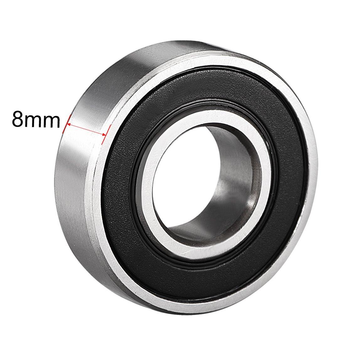 12/mm x 28/mm x 8/mm en acier au carbone Roulements Sourcingmap 6001rs Deep Groove Roulement /à billes double scell/é 6001 lot de 10 2RS 180101