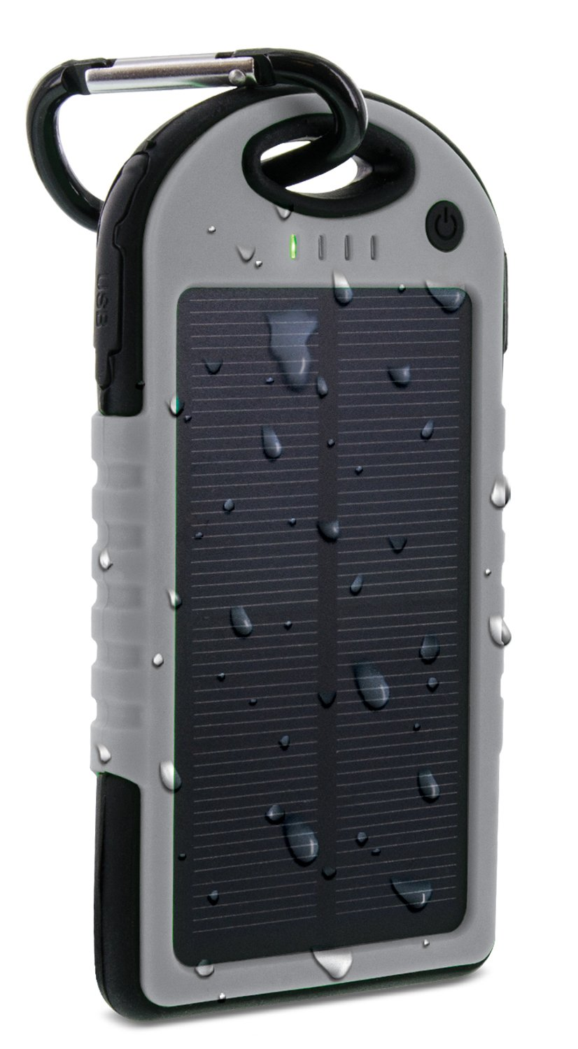 Aduro PowerUp Solar Powered Rugged Backup Battery W/ Dual USB Ports, IPX4 Certified Water Resistant, Shock Proof, Dirt Proof, Snow Proof. 6000 mAh, 30+ Hrs Talk Time Added (Grey/Black)