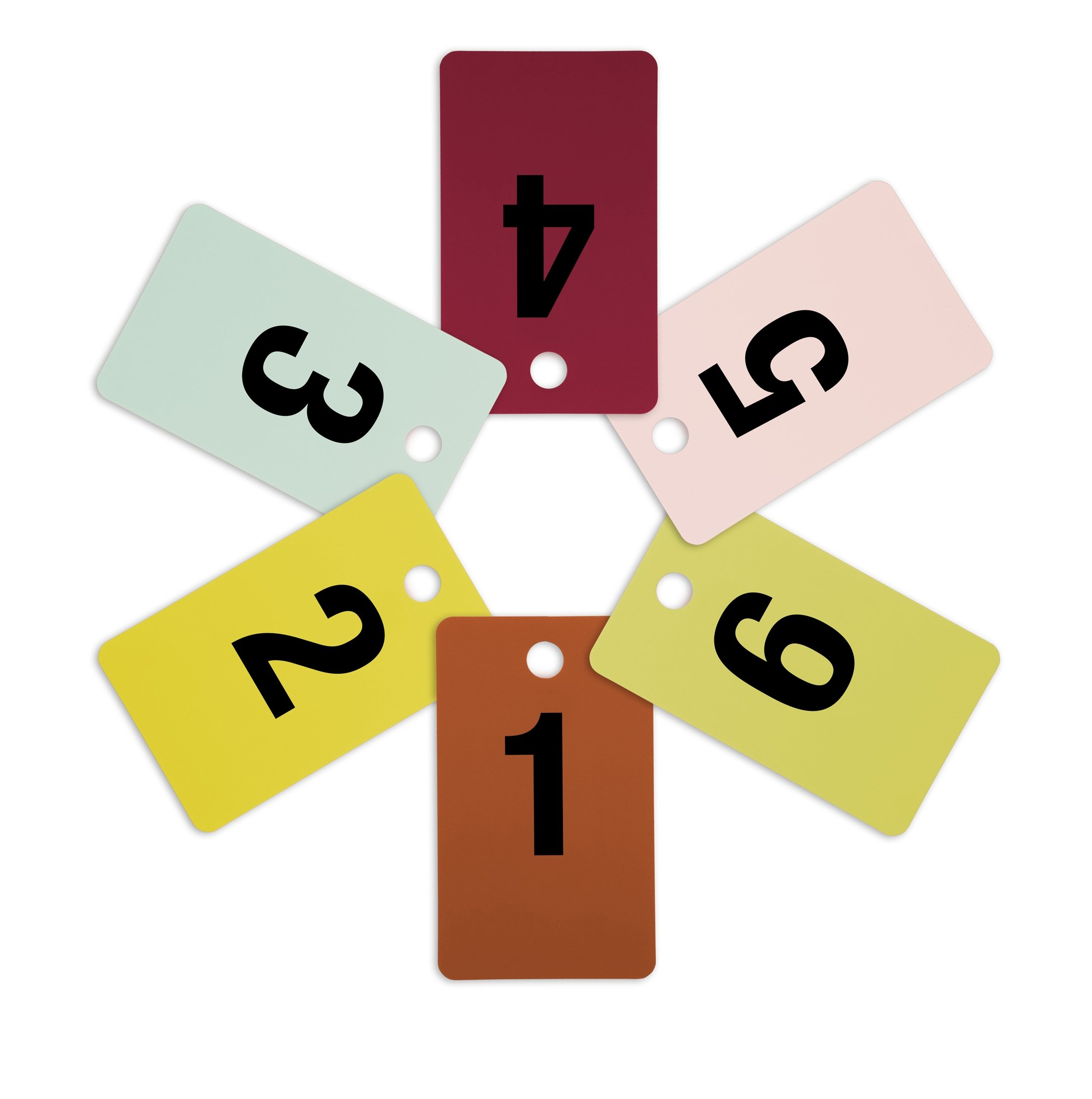 Mark Bric 8-FRT1-6 Fitting Room Tags, Includes Numbers 1-6 in Various Colors, 10 of Each Size (Pack of 60)