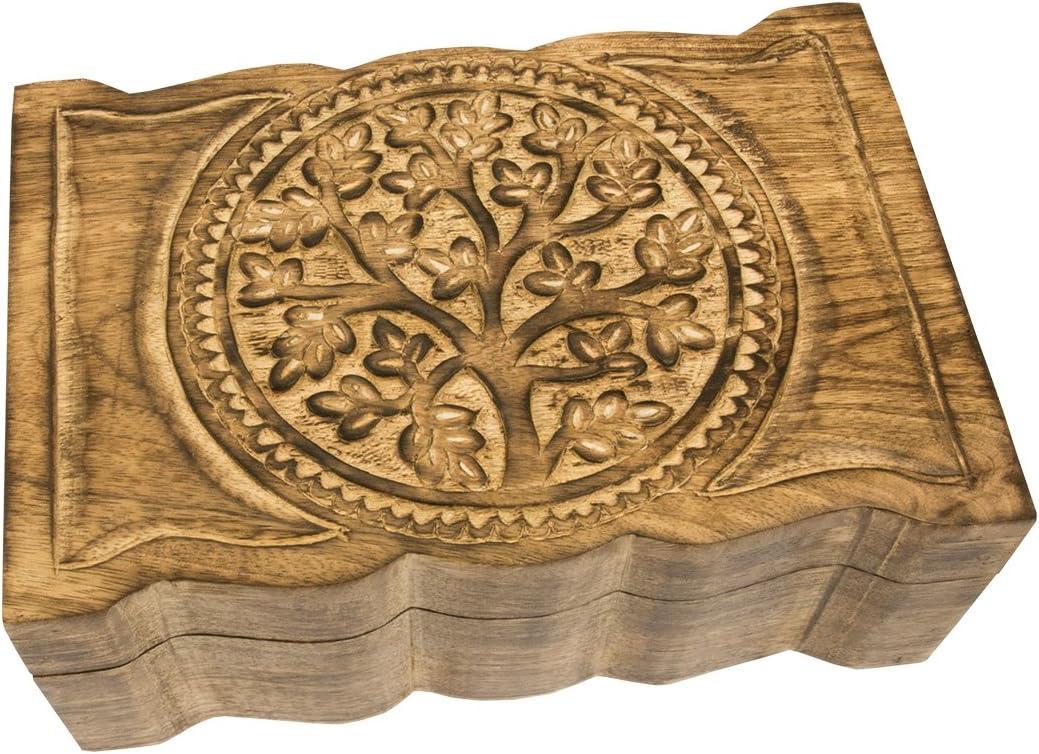 Truhe aus Holz Holztruhe f/ür Schmuck Aufbewahrung Schmucktruhe Lebensbaum
