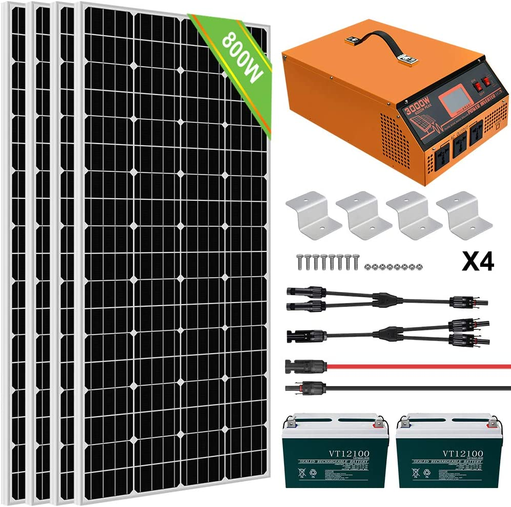 ECO-WORTHY 800W 3KWH/Day Solar Panel Kit with Battery and All-in-ONE Inverter Complete Solar Power System Kit Off Grid for Home, House, RV, 24V Battery