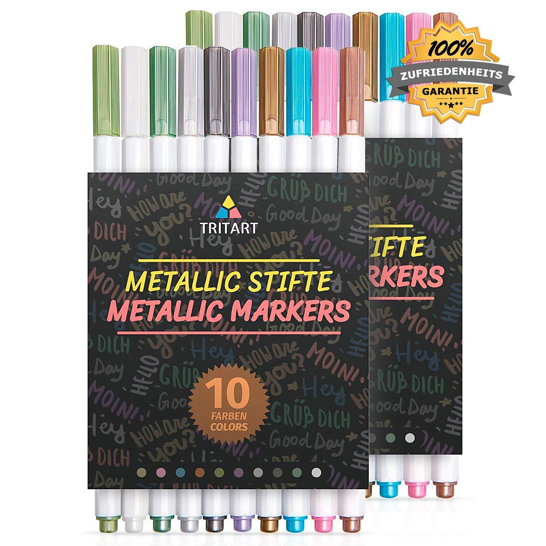 superficies lisas 10 Rotuladores Met/álicos Conjunto de plumones rotuladores profesionales en colores met/álicos de Tritart para /álbum de fotos scrapbook