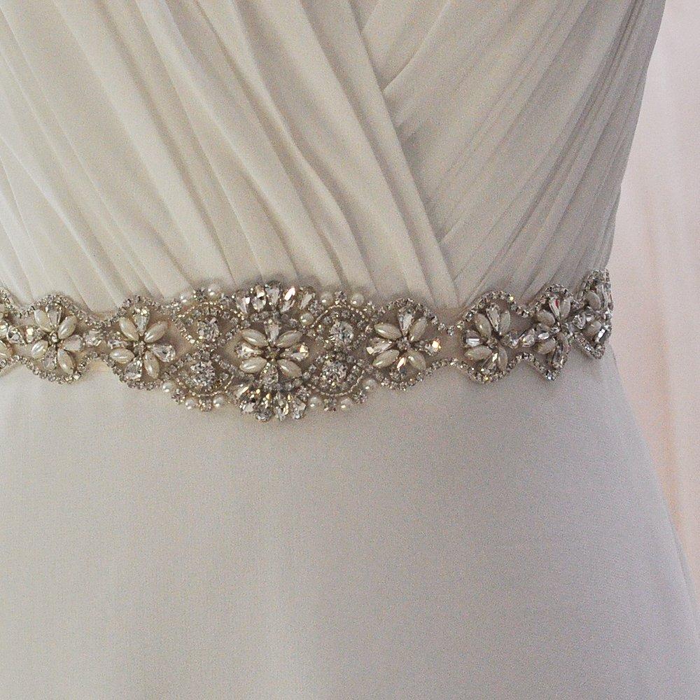Bride Rhinestone Wedding Belt Handmade Crystal Bridal Gown (Black) by Fruit And Sun (Image #5)