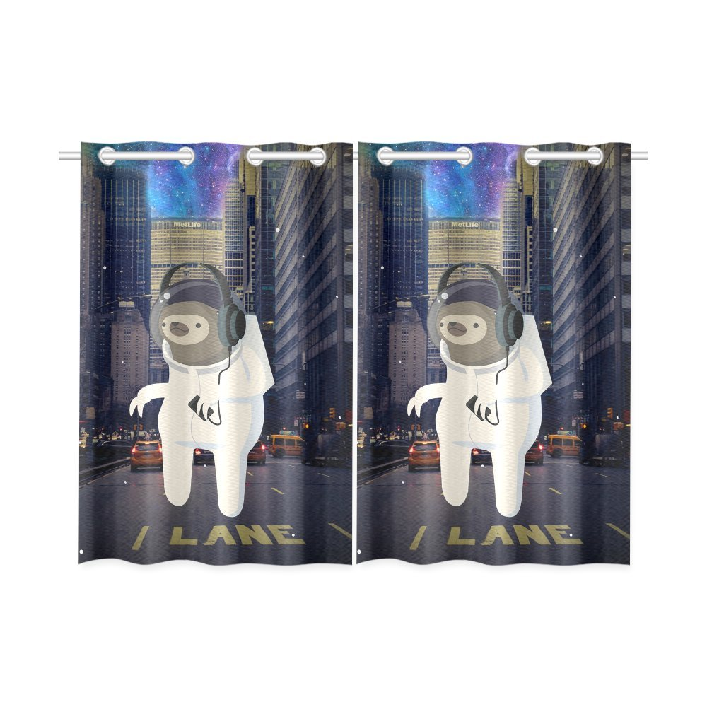 your-fantasia Funny Astronaut Animal Window Curtain Kitchen Curtain Two Pieces 26 x 39 inches