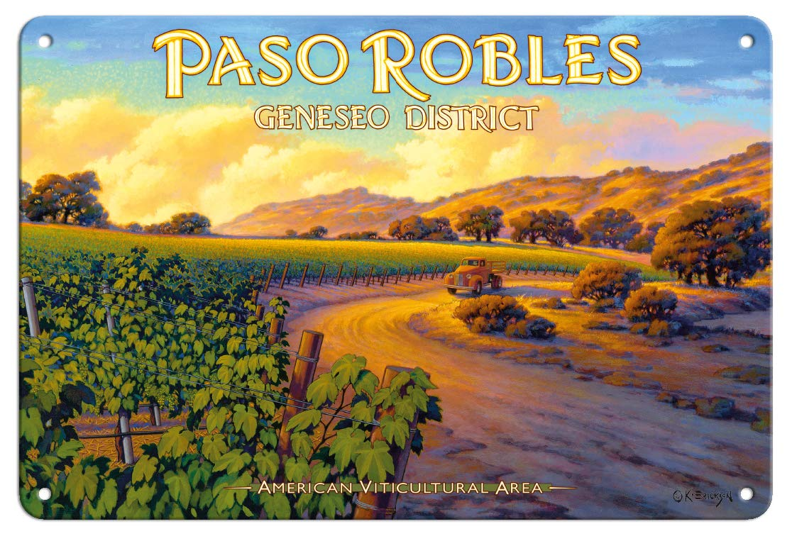 Pacifica Island Art 8in x 12in Vintage Tin Sign - Paso Robles - Geneseo District by Kerne Erickson