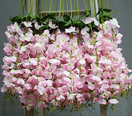 Amazon hlingo 50 pcs artificial flowers bulk fake silk hlingo 50 pcs artificial flowers bulk fake silk wisterial vine for home and weding decorations mightylinksfo