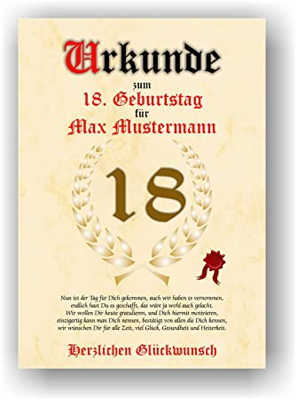 Spruch Zum 18 Geburtstag Für Karte.Urkunde Zum 18 Geburtstag Glückwunsch Geschenkurkunde Personalisiertes Geschenk Mit Name Gedicht Und Spruch Karte Präsent Geschenkidee Din A4