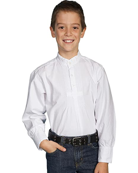 Steampunk Kids Costumes | Girl, Boy, Baby, Toddler Scully Boys Pleated Front Long Sleeve Shirt - 500020K WHT $37.52 AT vintagedancer.com