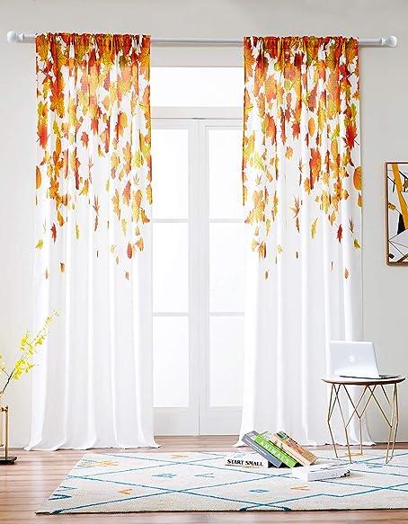 Grace Duet Linen Type Fabric Window Curtains 2 Panels Maple Leaf Pattern Curtains Maple