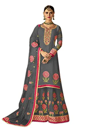 350ed9045c Shoppingover Indian ethnic New Design Plazo Style Salwar Kameez For Uk  Women-Gray Color: Amazon.co.uk: Clothing