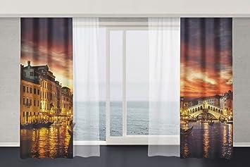 Vorhang Fotodruck amazon de 3d motiv effekt gardinen venedig 2 st x je 140х240 cm