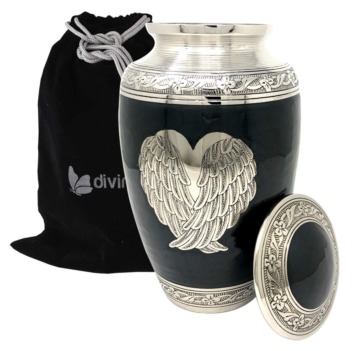 Loving Angel Wings Cremation Urn – Silver Angel Wing Urn – Solid Brass Large Angel Wings Urn for Human Ashes – Handcrafted Adult Funeral Urn with Free Bag Black Adult