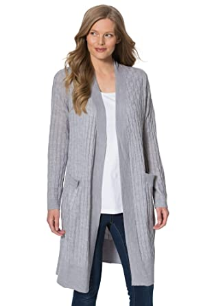 db1250ccfc9 Woman Within Women s Plus Size Lightweight Cabled Duster Cardigan - Heather  Grey