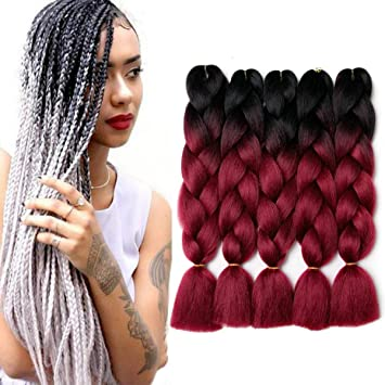 Hair Braids Women Heat Resistant Fiber Ombre Jambo Braids Girl Hair Extension African 24inch Synthetic Braiding Hair Lady Gradient Dreadlock