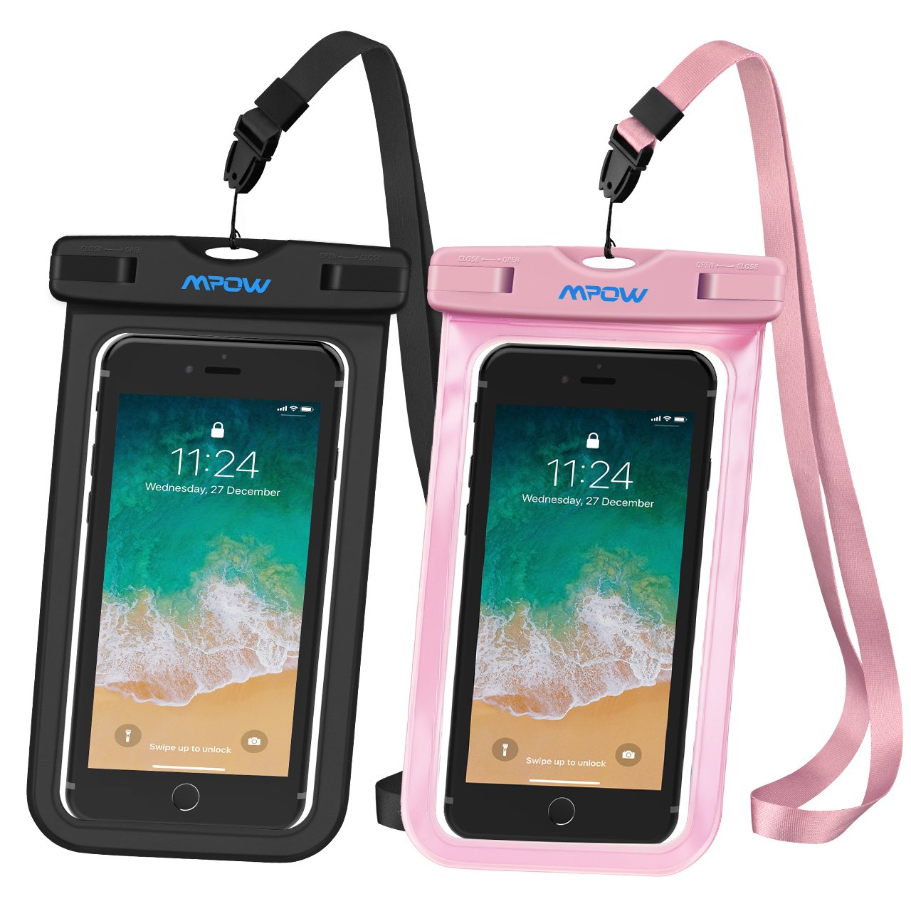 Mpow Universal Waterproof Case, IPX8 Waterproof Phone Pouch Dry Bag Compatible for iPhone Xs Max/Xs/Xr/X/8/8plus/7/7plus/6s/6/6s Plus Galaxy s9/s8/s7 Google Pixel HTC12 (Black+Pink 2-Pack) by Mpow (Image #8)