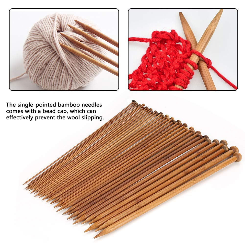 Ferri da maglia 36 pezzi Ferri da maglia carbonizzati a punto singolo da 2mm 10mm