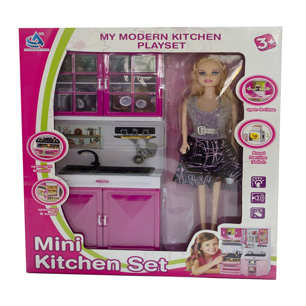 Buy the gift house my modern kitchen playset mini kitchen set toy doll lights sound pink online at low prices in india amazon in