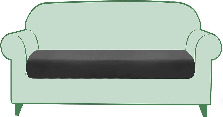 TIKAMI Stretch Cushion Cover PU Leather Seat Cushion Cover Outdoor Furniture Protector Sofa Slipcover Waterproof Cushion Cover for 2 Seater(Light Grey)