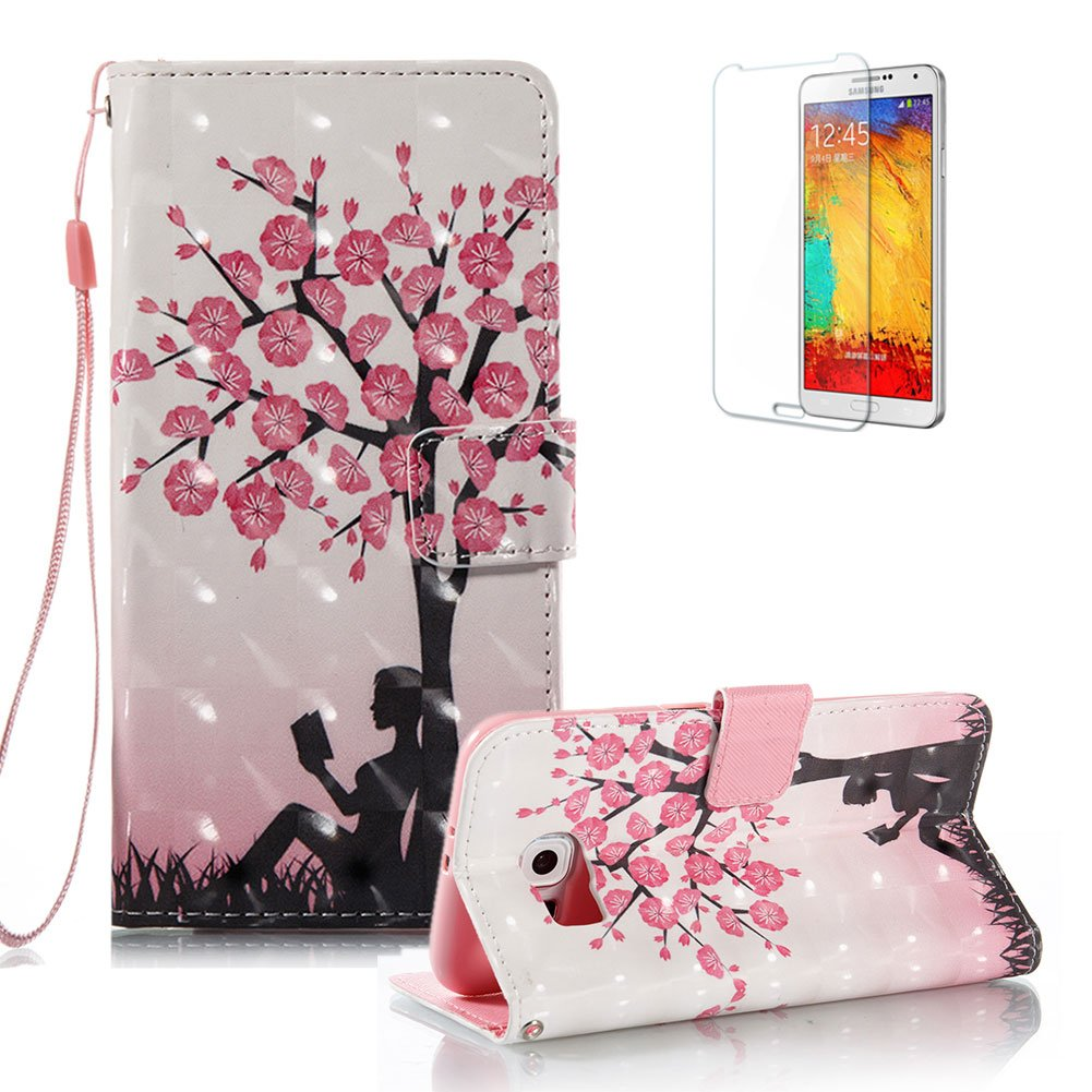 For Samsung Galaxy S6 Case [with Free Screen Protector].Funyye Elegant Premium Folio PU Leather Wallet Magnetic Flip Cover with [Wrist Strap] and [Colorful Printing Painting] Stand Function Book Type Stylish Full Protection Holster Case Cover for Samsung G