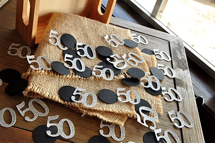 50th Birthday Decoration 50 Number Confetti 2 Packs 50CT Each