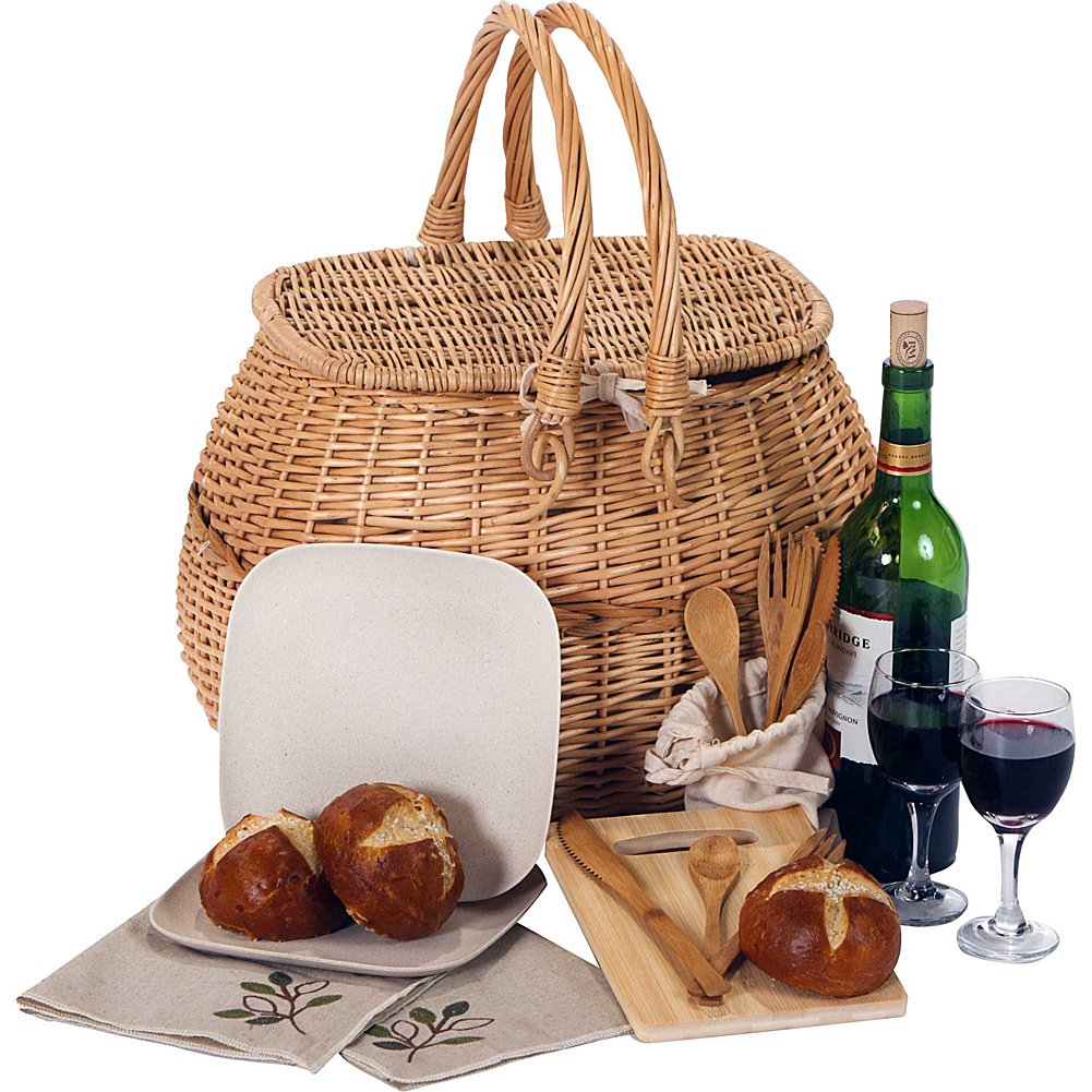 Picnic Plus Eco Friendly 2 Person Picnic Basket With Bamboo Fiber Plates, Bamboo Utensils